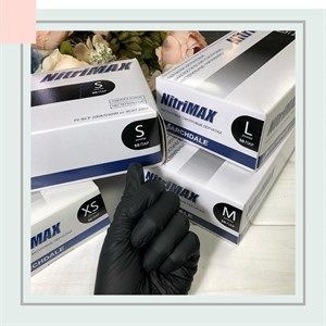 Перчатки NitriMAX нитриловые размер М черные, 50 пар