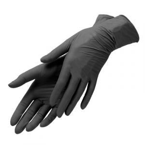 Перчатки нитриловые размер S, черные 1 пара