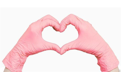 Перчатки нитриловые размер S, розовые 1 пара