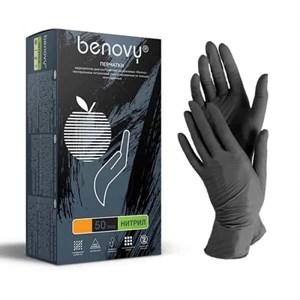 Перчатки BENOVY нитриловые S черные, 50 пар