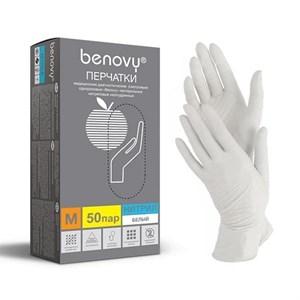 Перчатки BENOVY нитриловые M белые, 50 пар