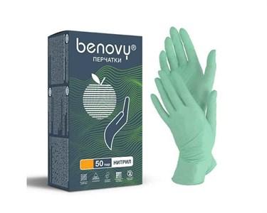Перчатки BENOVY нитриловые S зеленые, 50 пар
