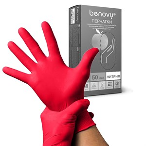 Перчатки BENOVY нитриловые M красные, 50 пар