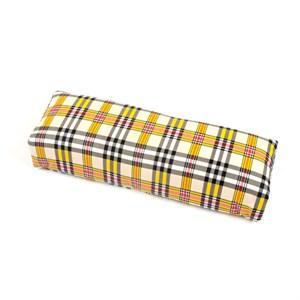 Подлокотник кожаный для рук (шотландская клетка) желтая
